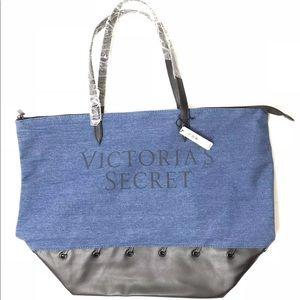 New Victoria's Secret Logo Denim Carryall Tote Bag